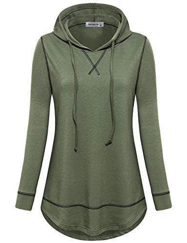 MOQIVGI Gym Hoodies for Women,Long Sleeve Outdoor Running Shirts Soft Breathable Fall Winter Loose Fit Workout Tunic Tops Juniors Plain Exercise Clothes Green XX-Large