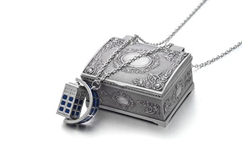 [REINDEAR Doctor Who Spinning Tardis 3d Police Box Necklace US Seller (Necklace w/ Jewelry Box)] (Dr Who Police Box Costume)