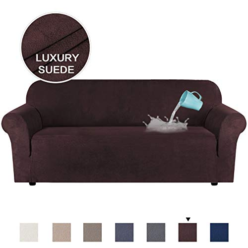 HVERSAILTEX Luxurious Soft High Stretch Suede Sofa Slipcover Brown Couch Covers Velvet Plush Furniture Protector Machine Washable Sofa Covers 3 Seater Sofa Size