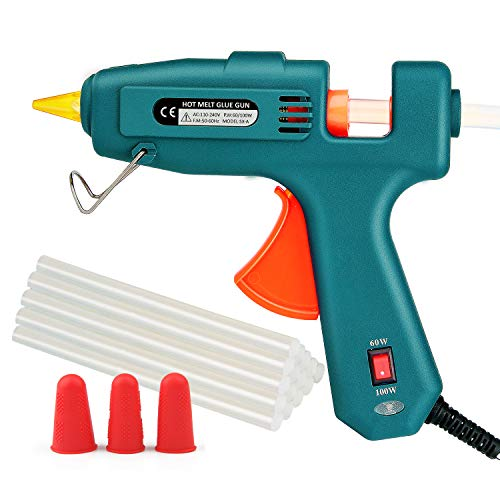 60/100W Hot Glue Gun, WEIO Full Size (Not Mini) Dual Power Hot Melt Glue Heavy Duty High Temp Melt Glue Gun Kit with 15 Pcs Premium Glue Sticks for Arts, Craft Projects &Sealing Finger Cap