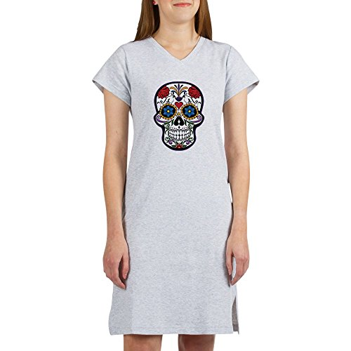 Truly Teague Women's Nightshirt (Pajamas) Floral Sugar Skull Day of the Dead - Heather Grey, Large