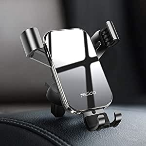 YESIDO Car Air Vent Phone Holder Car Phone Holder Universal One Touch car holder car mount Compatible for iPhone Xs X XR 6S 7 Plus 8 5S 6, Samsung Galaxy S9 S7 Edge S8 S20, Google Pixel 2 XL, LG G6 Smartphone