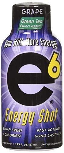 e6 Energy Shot Grape Flavor, Pack of 12