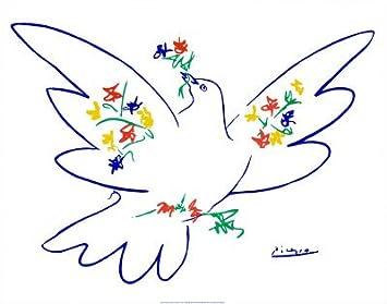 Amazonde Kunstdruck Friedenstaube blau von Pablo Picasso