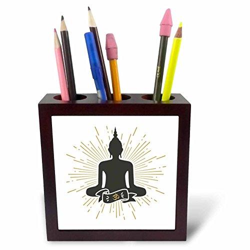3dRose Sven Herkenrath Religion - Vector of a Meditating Statue Black on White Background - 5 inch Tile Pen Holder (ph_281676_1) by 3dRose