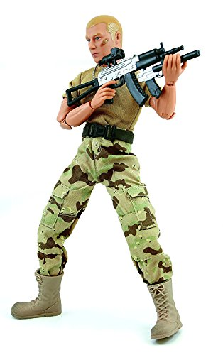 Military Figures Inch 12 (World Peacekeepers Army Men Action Figures: 30-Pt. Full-Motion 12-Inch Army Toys w/ Ninja Grip, AKS-74 Military Rifle, Pistol Attachment & Scope (Tan Edition))