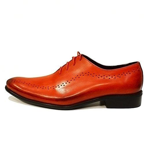 Modello Giacio - 41 EU - Handmade Italiennes Orange Chaussures - Cuir de vachette Cuir peint à la main - Lacer