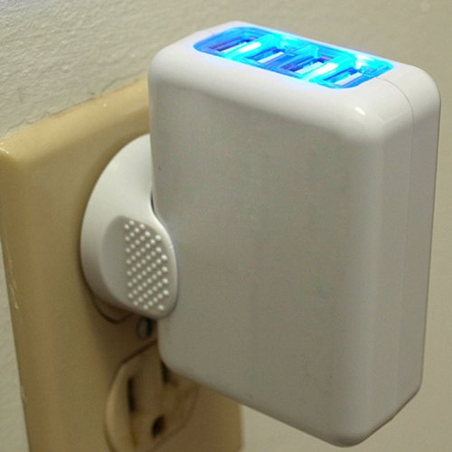 Hde Usb Wall Charger Led Light Up 4 Port Travel A C Power