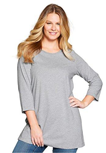 Womens Plus Size Pefect Three Quarter Sleeve Scoop Neck Tunic Heather Grey 3X
