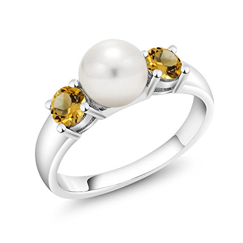 Citrine 925 Silver Ring - 925 Sterling Silver Yellow Citrine and Freshwater Pearl Women's Ring (0.64 Ct Round Available in size 5, 6, 7, 8, 9)