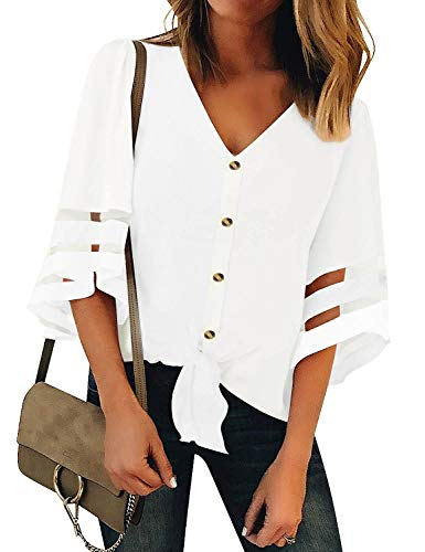 Womens Button Down V Neck Loose Mesh Panel Blouse 3/4 Bell Sleeve Loose Top Shirt Casual Shirts Blouses(M, White 1)
