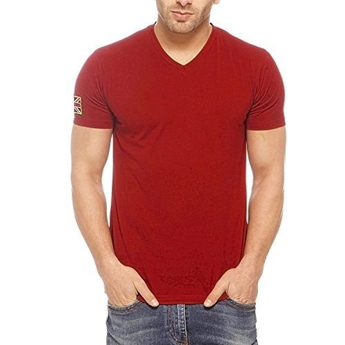 GRITSTONES Men's Cotton T-Shirt (GS60205BDGMRN-L_Maroon)