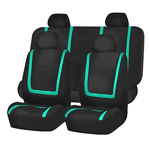FH Group FB032MINT114 Mint Unique Flat Cloth Car Seat Cover (w. 4 Detachable Headrests and Solid Bench) - Firebird Headrest