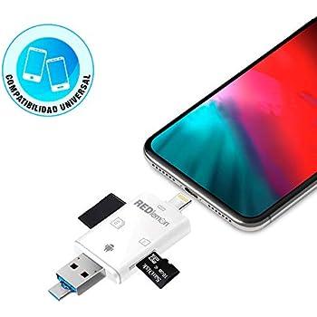 21954f4cc96 RedLemon iFlash Memoria Externa Portátil para iPhone, Android, Tablet y PC.  Ranura para Tarjeta SD y Micro SD. Respalda tu Dispositivo sin conectarlo a  la ...