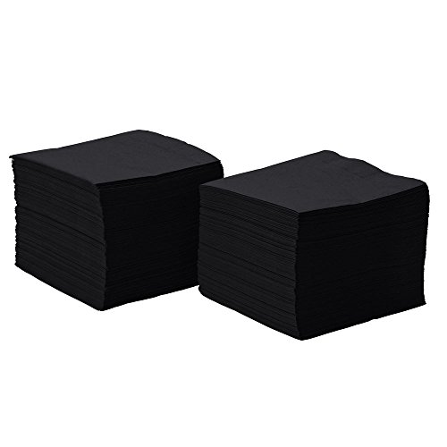 Perfectware 2 Ply Black 200 Black Beverage Napkin Package of 200ct- 2-Ply, 2.5