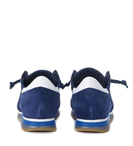 Philippe Model Sneaker Tropez in camoscio e Tessuto Blu e Bianca Blu