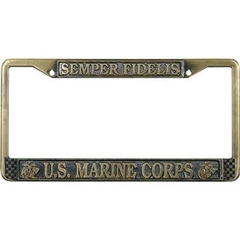 Amazon.com: U.S. Marines Thin Rim License Plate Frame (Chrome Metal ...