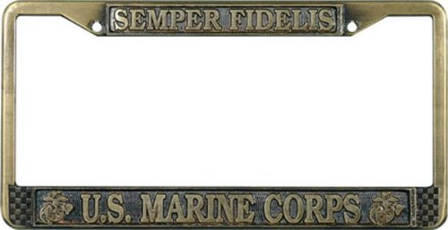 U.S. Marines License Plate Frame (Antique Brass Plated) - Marines License Plate