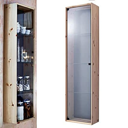 Amazon Com Glass Door Curio Cabinet Wall Mount With Solid Pine Wood