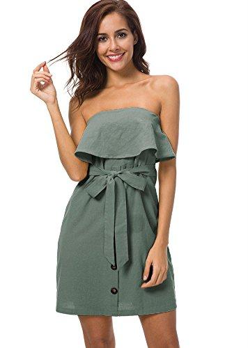 Linen Strapless Dress (Moxeay Women Off Shoulder Ruffles Button Down Mini Dress with Belt (XL,Green))