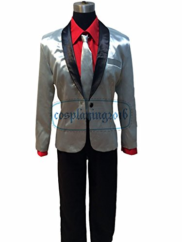 NEW! Halloween Suicide Squad Joker Costume Cosplay Silver Jacket Coat Psychos Killers