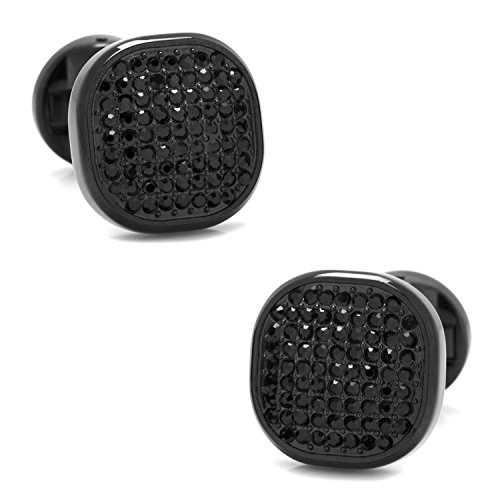 Ox and Bull Trading Co. Black Stainless Steel Black Pave Crystal - Crystal Pave Cufflinks
