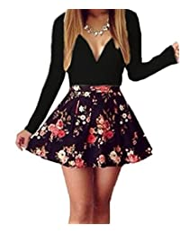 Gasion Womens Deep V Neck Sexy Cocktail Evening Party Business Bodycon Mini Dress