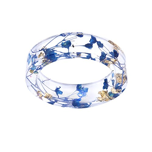 - New Arrival Handmade Blue Color Dried Flowers Transparent Resin/Plastic Women/Men's Charm Ring (17mm/US#6.5)