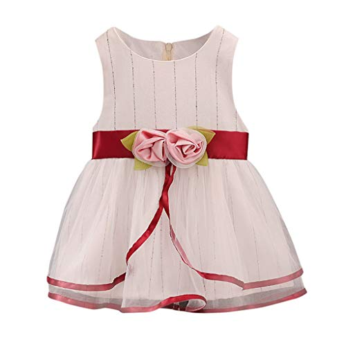 TEVEQ Toddler Kids Girls Dresses Sleeveless Tulle Flowers Ruched Dress Princess Dresses Red