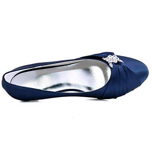 Talon Plisse Boucle Mariee Strass Satin Marine Bleu Bout Round De Escarpins A Chaussures Ep2006l Femme Elegantpark Bas Enfiler EZqIP1