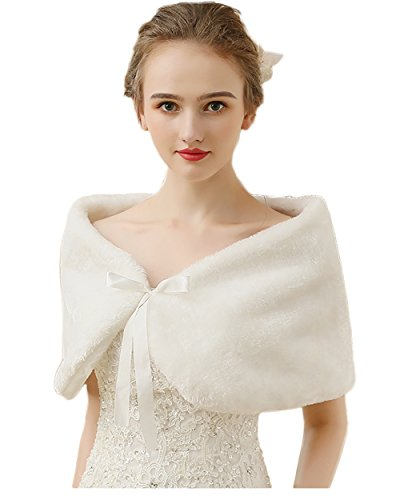 Czy accessories Faux Fur Shawl Wrap Stole Cape for Women with Satin Bowknot