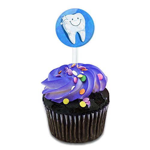 Happy Tooth Dentist Cake Cupcake Toppers Picks Set - Happy Tooth