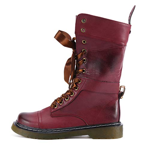Women's Retro Shoes Clearance Sale, NDGDA Low-Heeled Leather Boot Non-Slip Round Toe Lace-Up Middle Boot by NDGDA Fashion Women Boots (Image #4)