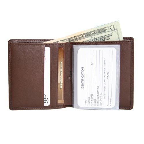 Royce Leather Men's Slim Bifold Wallet in Leather, Brown