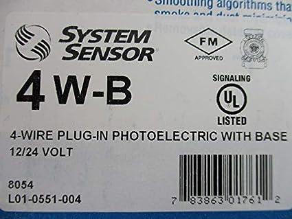 SYSTEM SENSOR Smoke Alarm, 12/24 VDC, 4-Wire, w/