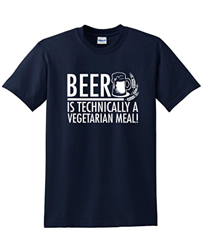 Beer Is Technically A Vegitarian Meal Sarcastic Novelty Graphic Funny T Shirt XL Navy