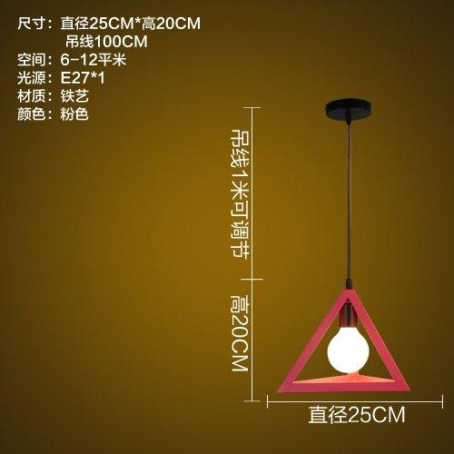 LuckyLibre Couleur moderne rétro Ombre lumière Pendentif Fer Chambres Bar Café Restaurant Cuisine couloir plafond Lustre Lampe éclairage,Triangle (poudre) avec source de lumière LED