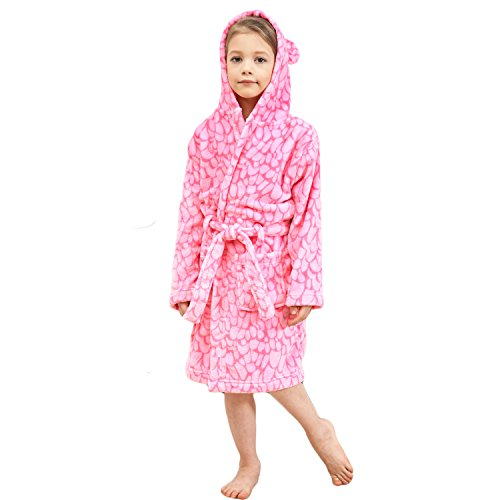 Price comparison product image Animal Pajamas Boys & Girls Bathrobes, Plush Soft Coral Fleece Floral Hooded Sleepwear for Kids Size 14