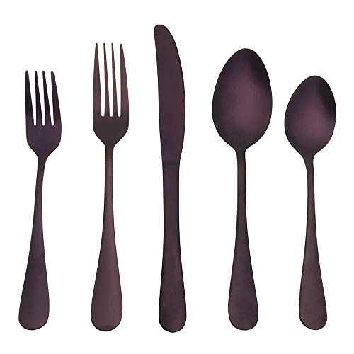Kingware Home Purple Silverware Flatware Cutlery Set,18/0 Stainless Steel Utensils 20-Piece Service for 4,Include Knife/Fork/Spoon,Matte Polished,Dishwasher Safe(Purple) ()