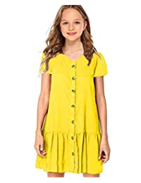 Arshiner Girls Cotton Short Sleeve Solid Color Skater Casual Twirly Dress