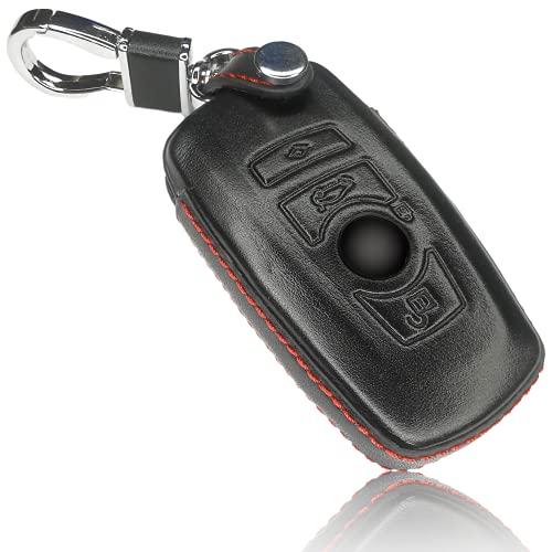FoilsAndMore hoes compatibel met BMW 3-4 toetsen autosleutel (alleen Keyless-Go) – lederen beschermhoes cover…