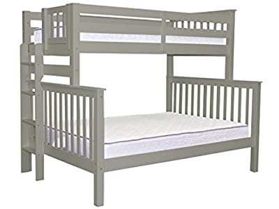 Bedz King Mission Style Bunk Bed Twin over Full with End Ladder, Gray