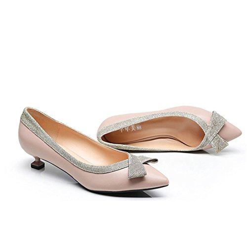 con para Mujeres Individuales Cómodos Zapatos de Boca Grande Mujeres de apricot para Zapatos Joker Punta Zapatos Sandalette DEDE de Baja Talla Zapatos c4Aq7EFw