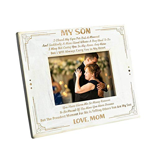 DOPTIKA Picture Frame from Mom to Son - Engraved Natural Wood Photo Frame - I'll Always Carry You in My Heart - Wood Frame Birthday Gift.