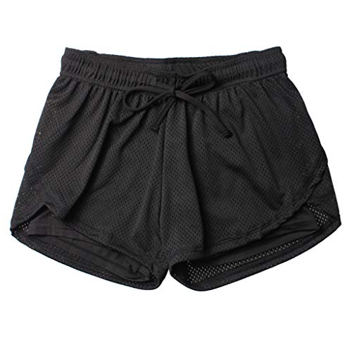 - TOTOD Sport Shorts Women's Anti Emptied Quick-Dry Short Pants Outdoor Fitness Double Layer Hot Pants Black