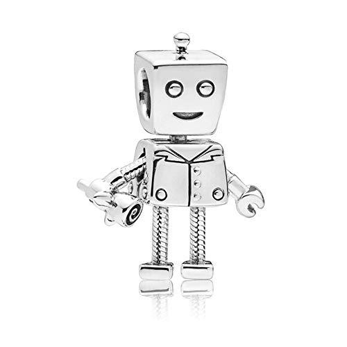 - Romántico Amor Rob Bot Dangle Charm 925 Sterling Silver Movable Robot Bead for Pandora Bracelets