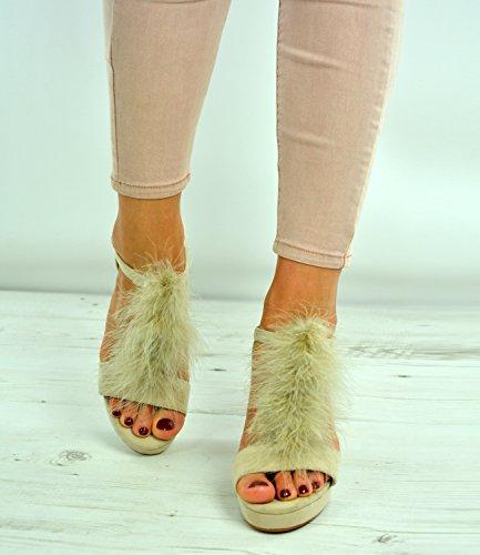 Brand New Womens Ladies Fur Sandals Girls High Block Heels Ankle Strap Peep Toe Platforms Shoes Size Uk 3-8 Beige YzIse