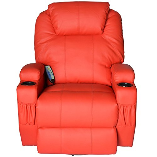 HomCom Faux Leather Heated Massage Recliner Chair with Remote – Bright Red