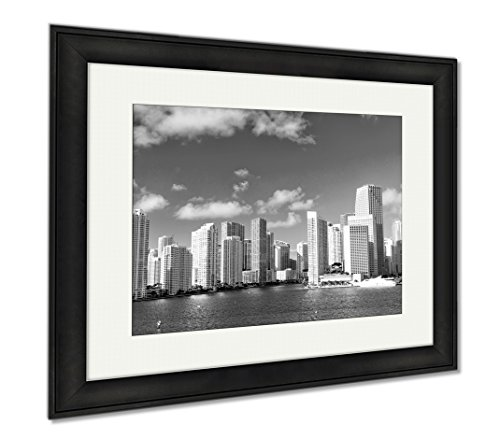 Ashley Framed Prints Seascape Of Bayside In Miami With Buildings And Skyscrapers In Downtown, Modern Room Accent Piece, Black/White, 34x40 (frame size), Black Frame, - Miami Bayside