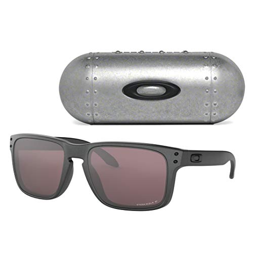 Oakley Men's Holbrook Sunglasses (Steel/Prizm Daily Polarized, One Size) Metal Vault Sunglass Case (Silver)
